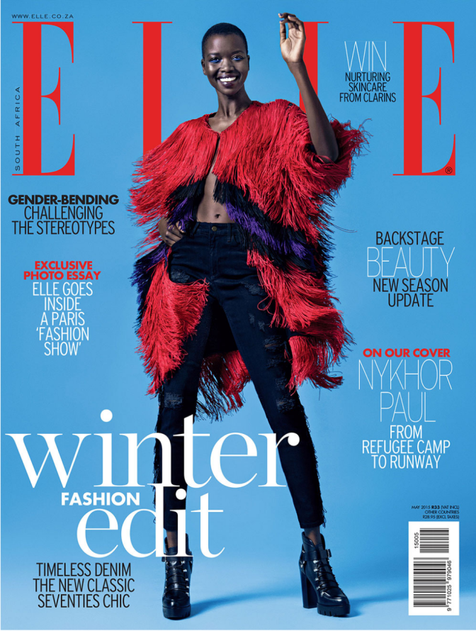 #FromRagsToRiches: Sudanese Model Nykhor Paul Shines On The Cover Of Elle Magazine SA's May 2015 Issue