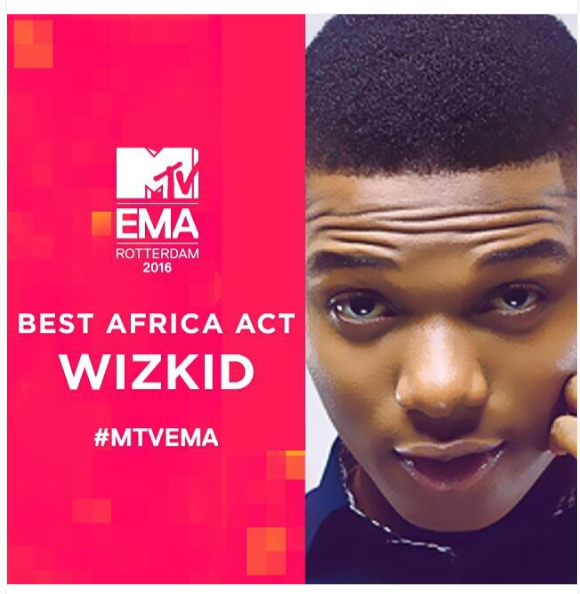 Wizkid Wins At The 2016 MTV Europe Music Awards